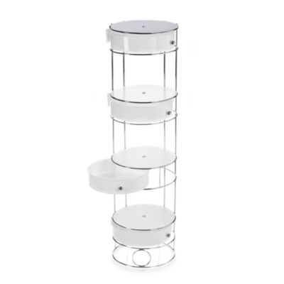 Chrome Bathroom Storage Tower