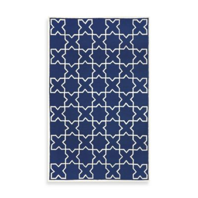Liora Manne Capri Moroccan Tile 3-Foot 6-Inch x 5-Foot 6-Inch Indoor/Outdoor Rug in Navy
