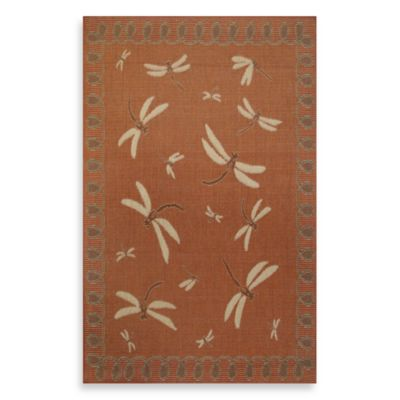 Trans-Ocean Dragon Fly 7-Foot 10-Inch x 9-Foot 10-Inch Indoor/Outdoor Rug - Terracotta