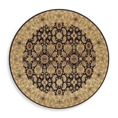 Couristan® All Over Vase Black 6-Foot 6-Inch Round Rug