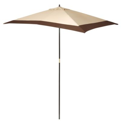 9 1/2-Foot Rectangular Wood Umbrella In Border Stripe