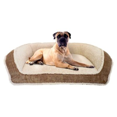 Deep Seated Micro Sherpa Pet Lounger Bed with Fillmore Wall