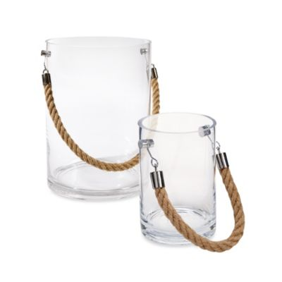 Large Clear Glass Candle Holder with Rope Handle