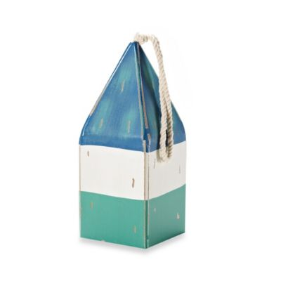 9.5-Inch Wooden Nautical Buoy in Blue, White and Green