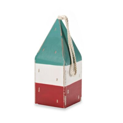 9.5-Inch Wooden Nautical Buoy in Green, White and Red