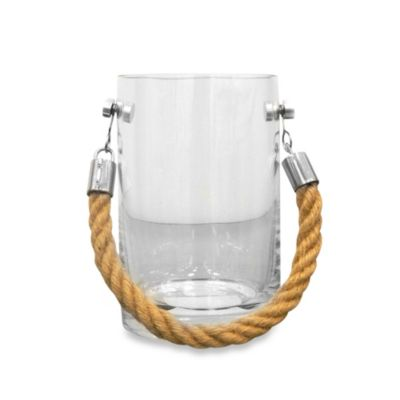 Small Clear Glass Candle Holder with Rope Handle