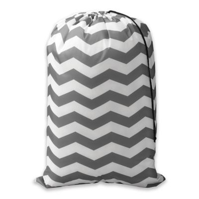 Chevron Novelty Laundry Bag in Peacock Blue/White