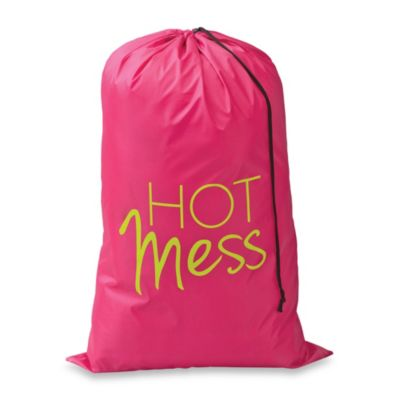 Novelty Icon Hot Mess Laundry Bag in Azalea