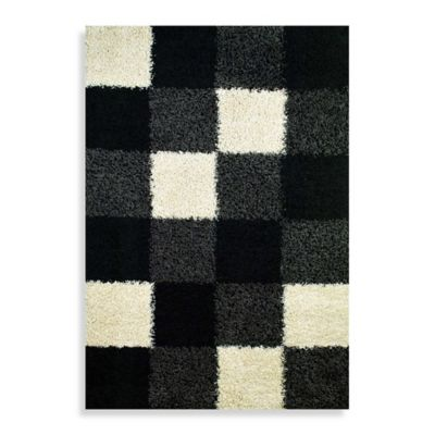 Concord Global Blocks Black 3-Foot 3-Inch x 4-Foot 7-Inch Shag Rug