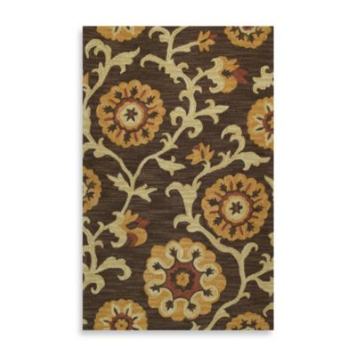 Kaleen Cornish 2-Foot x 3-Foot Floral Rug in Brown