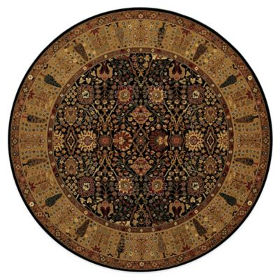 Couristan® Royal Kashimar Black 4-Foot 6-Inch Round Rug