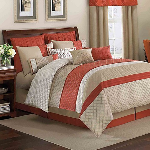 Royal Heritage Home 174 Pelham Comforter Set In Orange Bed