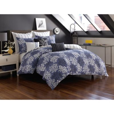 notNeutral Pom Pom Twin Duvet Cover in Slate Blue