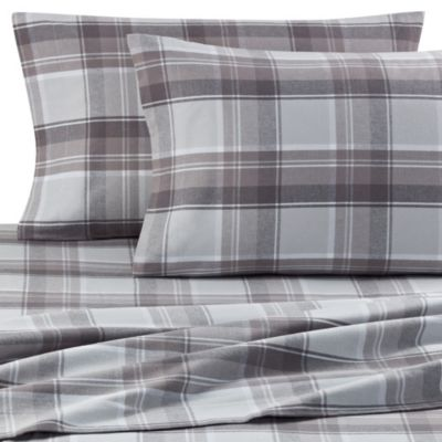 Palais Royale™ Portuguese Flannel King Sheet Set in Grey Plaid
