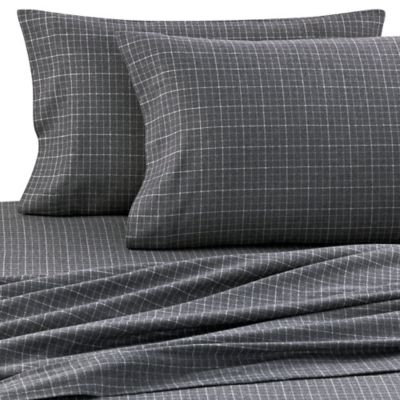Palais Royale™ Portuguese Flannel California King Sheet Set in Charcoal Plaid