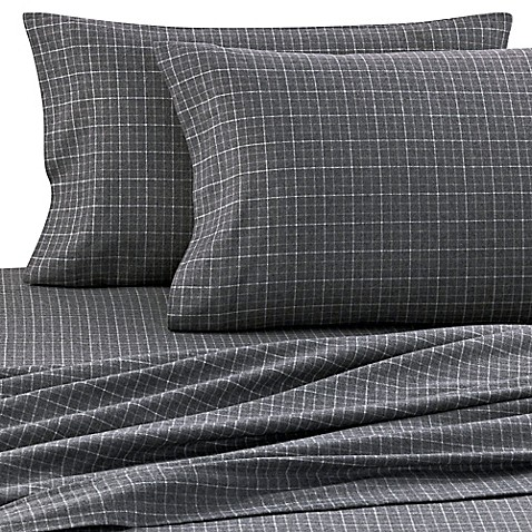 Palais Royale™ Heavyweight Flannel King Sheet Set in Charcoal Plaid
