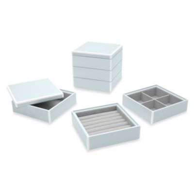 Swing Design™ Elle Lacquer Stacking Jewelry Box in Blue (Set of 3)