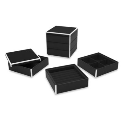 Swing Design™ Elle Lacquer Stacking Jewelry Box in Black (Set of 3)