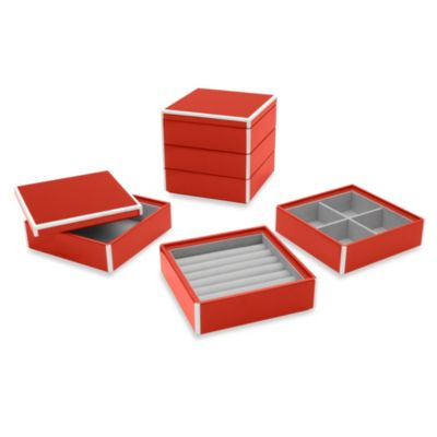 Swing Design™ Elle Lacquer Stacking Jewelry Box in Red (Set of 3)