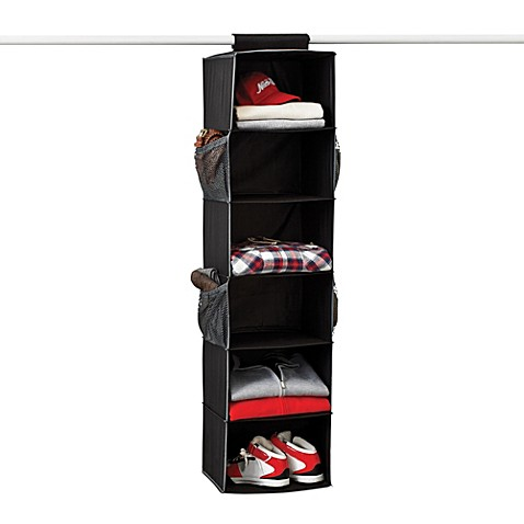 Gearbox 6-Shelf Black Sweater Organizer