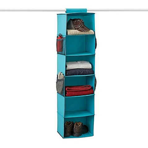 Gearbox 6-Shelf Peacock Blue Sweater Organizer