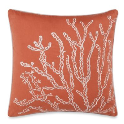 Solid Seashell Coral Square Throw Pillow