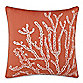 Solid Seashell Coral Square Toss Pillow