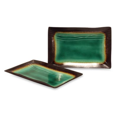 Baum Galaxy Rectangular 8-Inch x 12-Inch Platters in Jade (Set of 2)