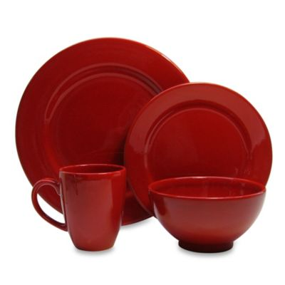 Waechtersbach Fun Factory 16-Piece Dinnerware Set with Jumbo Mugs in Red