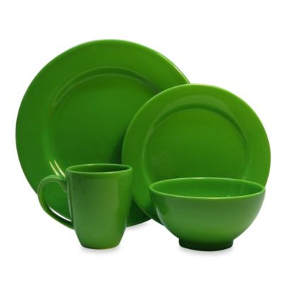 Waechtersbach Fun Factory 16-Piece Dinnerware Set with Jumbo Mugs in Green Apple