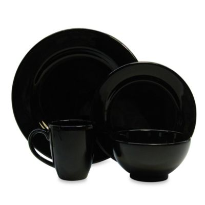 Waechtersbach Fun Factory 16-Piece Dinnerware Set with Jumbo Mugs in Black