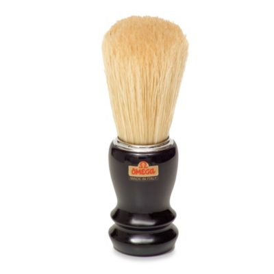 Omega® Boar Bristle Shaving Brush with Black Handle and Chrome Rim
