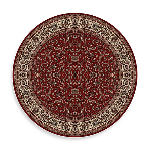 Concord Global Trading Jewel Kashan 5-Foot 3-Inch Round Rug in Red
