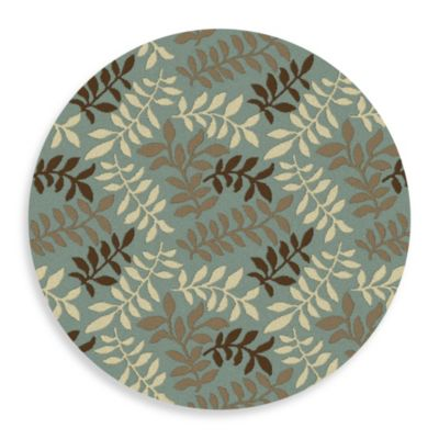 Concord Global Leafs 5-Foot 3-Inch Round Rug in Blue