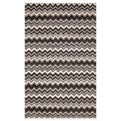 Trans-Ocean Zigzag Stripe Rug in Black/White