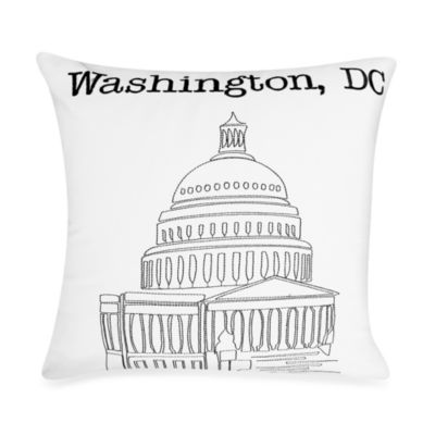 "Passport 18"" Square Postcard Toss Pillow - Washington D.C."