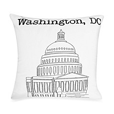 Passport Postcard Washington D.C. Square Throw Pillow in Black/White