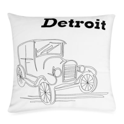 Passport Postcard Detroit Square Throw Pillow in Black/White