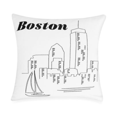 Passport Postcard Boston Square Throw Pillow in Black/White