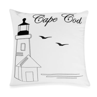Passport Postcard Cape Cod Square Throw Pillow in Black/White