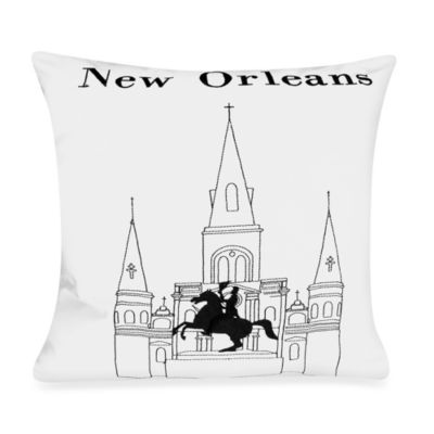 "Passport 18"" Square Postcard Toss Pillow - New Orleans"