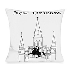 Passport Postcard New Orleans Square Throw Pillow in Black/White
