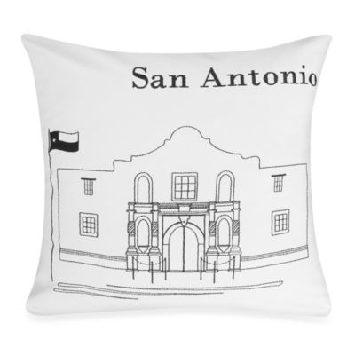 Passport Postcard San Antonio Square Throw Pillow in Black/White
