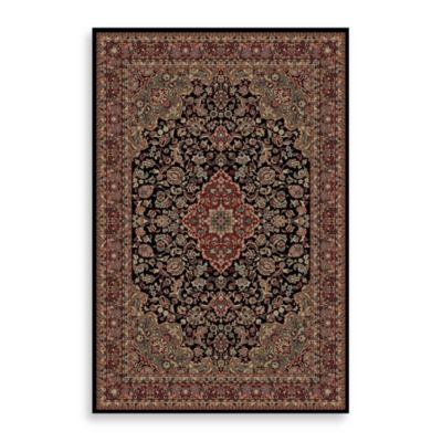 Concord Global Medallion Kashan Black 7-Foot 10-Inch x 11-Foot 2-Inch Rug