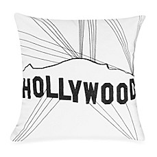 Passport Postcard Hollywood Square Throw Pillow in Black/White