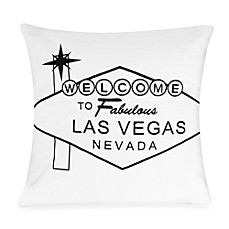 Passport Postcard Las Vegas Square Throw Pillow in Black/White
