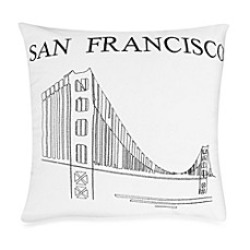 Passport Postcard San Francisco Square Throw Pillow in Black/White