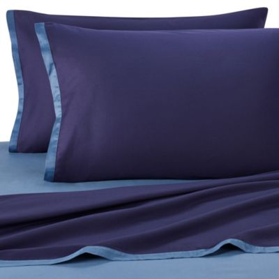 KAS® Two-Toned California King Sheet Set in Navy/Ocean