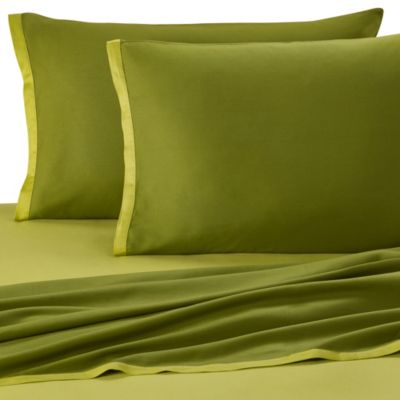 KAS® Two-Toned Twin XL Sheet Set in Apple/Basil