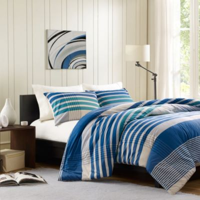 INK+IVY Connor Twin Duvet Cover Set in Blue
